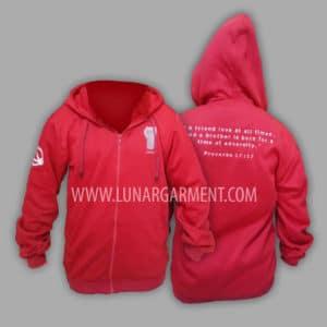 Hasil Produksi Dan Desain Jaket Fleece Merah